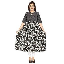 AnjuShree Choice Women's Crepe Cotton Stitched Anarkali Kurta Kurti (Medium)