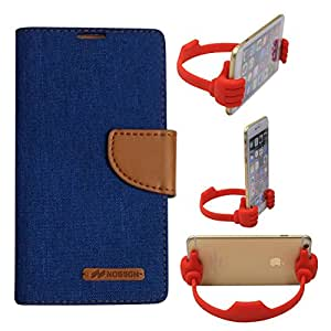Aart Fancy Wallet Dairy Jeans Flip Case Cover for Micromax-Q372 (Blue) + Flexible Portable Mount Cradle Thumb OK Designed Stand Holder By Aart Store.