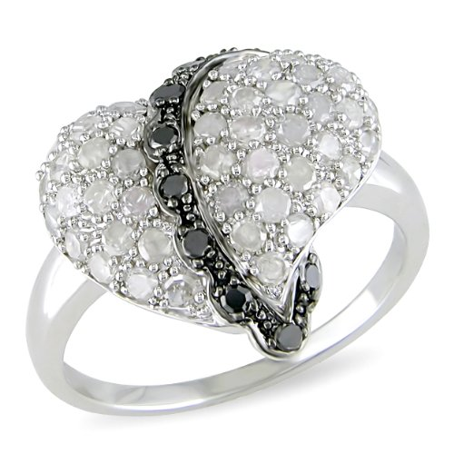 1 ct.t.w. Black and White Diamond Heart Shape Ring in Silver, HIJ, I3-I4