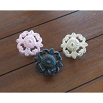 Ornate Cast Iron Knobs / Choose from 40+ Colors / Cottage Chic Dresser Pulls / Drawer Pulls/ Furniture Knobs / Cabinet Door Pulls