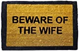 Happily Unmarried Beware of The Wife Coir Doormat - Black
