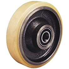 "Revvo PT Series 8"" Diameter X 1-3/4"" Width Polyurethane on Cast Iron Wheel with Precision Ball, 2420 Capacity, 20mm Bore Diameter"