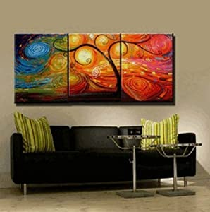 3 Piece Wall Art Abstract Art Colorful Tree Painting 100% Hand Painted Art Canvas Art Abstract Oil Painting Group Painting Large Painting (Unframed and Unstretched)