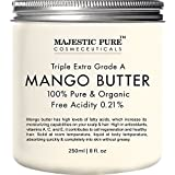 Majestic Pure Mango Butter, Raw & Organic Premium Grade for Soft Supple Skin and Healthy Hair, 8 oz