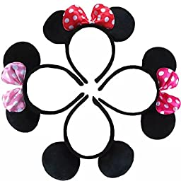 Sealive Pack of 4 Minnie Mouse Ear Headband for Party and Hallowen+ 2 Sheets No Crease Ouchlese Ponytail Holders