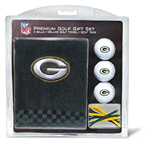 NFL Green Bay Packers Embroidered Golf Towel (3 Golf Balls 12 Tee Gift Set) by Team Golf