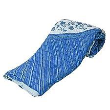 Little India Jaipuri bloque de funda de edredón doble Razai algodón diseño de azul