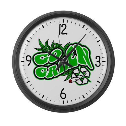 Large Wall Clock Marijuana Go Green