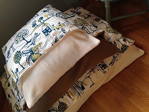 woodland-dog-snuggle-bed-handmade-burrow-sack-cave-pillow-cream-interior