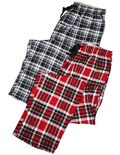 Hanes - Mens 2 Pack Plaid Flannel Lounge Pant, Black, Red 36111-Large front-693422
