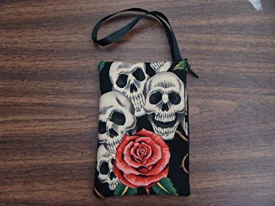 """US Handmade Fashion Electronic Device Clutch Purse, Pouch Wristband Makeup bag, Cosmetic Bag""""FOUR SKULLS PINK ROSES """" Pattern ,, SCB 1006-6"""