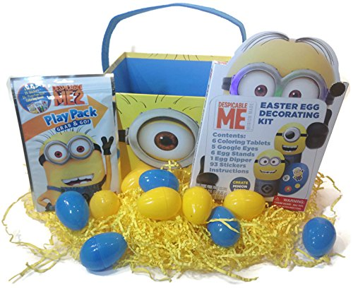 Easter gifts gifts for holidays me minion themed easter bundle 5 items 1 easter bucket 1 pack paper easter grass 10 color coordinated blue and yellow plastic eggs negle Choice Image