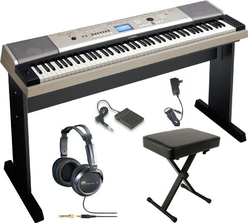 Yamaha Ypg-535 88-Key Portable Grand Graded-Action Usb Keyboard With Matching Stand And Sustain Pedal + X-Style Portable Keyboard Bench And Jvc Full-Size Stereo Headphones