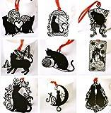 【9枚セット】 黒い猫 ステンレス金属 しおり ブックマーク ラッキーキャット プレゼントにも最適!