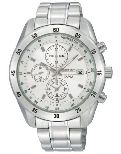 Seiko SNDC41P1 Gents Chronograph White Dial Bracelet Watch