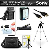 """Essential Accessories Kit For Sony Alpha NEX-6, NEX-5T, NEX-5TL, A3000 Compact Digital Camera Includes Extended Replacement (1500maH) NP-FW50 Battery + AC/DC Travel Charger + Case + 57"""" Tripod + More"""