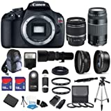 Canon EOS Rebel T5 18 MP CMOS Digital SLR Full HD Video Body with EF-S 18-55mm IS II Lens & EF 75-300mm III Lens with 32