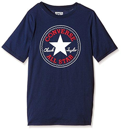 Converse - Chuck Patch, T-shirt Bambino, Blu (Converse Navy/Red Print), Large (Taglia Produttore: 12-13Y)