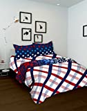 Tomatillo Geometric 4 Piece Cotton Double Bedding Set - White and Blue