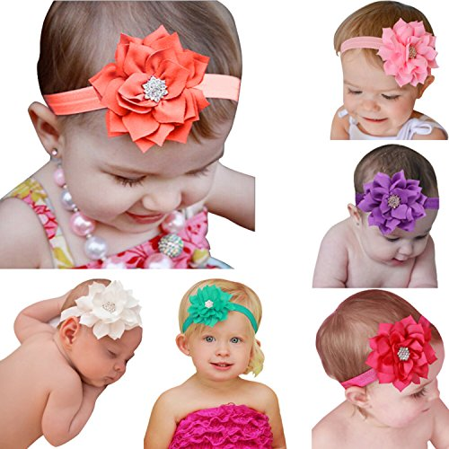 Qandsweet Baby Girl's Lotus Leaf Flower Headbands (6 Pack)