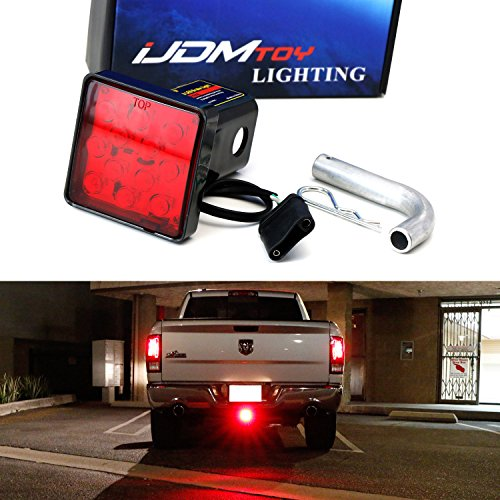 iJDMTOY 12-LED Super Bright Brake Light Trailer Hitch Cover Fit Towing & Hauling 2
