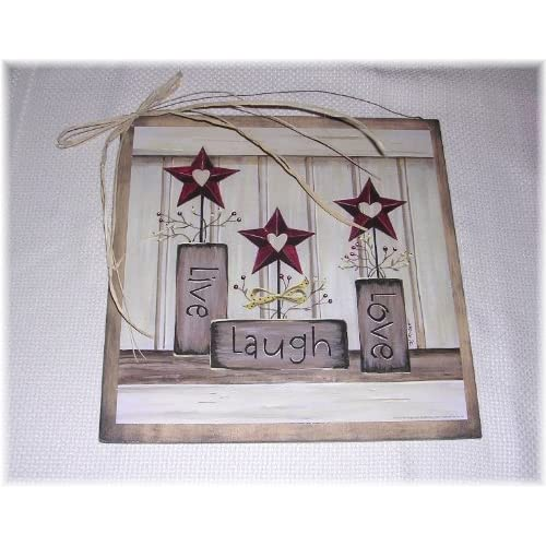 Live Laugh Love Country Wall Sign Burgundy Stars