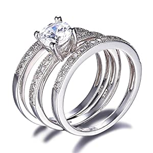 Jewelrypalace Women's 1.4ct Cubic Zirconia Ring Anniversary Engagement Bridal Set 925 Sterling Silver Size 7