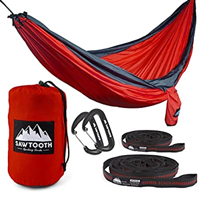 Sawtooth Double Hammock with Straps and Carbiners - Military-Grade Parachute Nylon with Utility Loops and Storage pocket - Portable and Lightweight Camping Hammock (Orange)