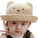 アップルスノー(applesnow) 赤ちゃんを日差しから守る ベビー 用 麦わら帽子 くま 耳 付き 男女 兼用 帽子 男の子 女の子 (頭囲48cmブラウン) ランキングお取り寄せ