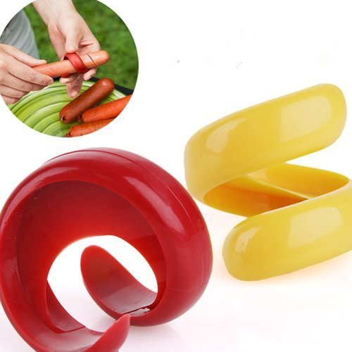 Aikoi Spiral Hot Dog Cutter Slicers Fancy Sausage Cutter Slice for Outdoor BBQ, Quirky Cyclone (Set of 2 Sizes)