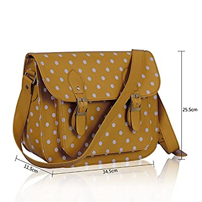 Ladies Girl's Gorgeous Quality College Satchel Polka Dot Spotty Cross Body Bags School A4 - satchels, more-bags