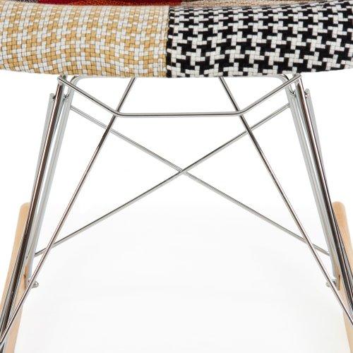 ModHaus Mid Century Modern Eames Style RAR Patchwork Fabric Upholstered Rocking Rocker Chair 2