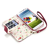 Samsung Galaxy S4 Premium PU Leather Wallet Case (Red (Floral Interior))