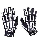 Bicycle Gloves Skeleton Pattern Full Finger Warm Bike Sports Gloves Black + White (L)