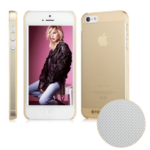 Moon Monkey Ultra-Thin Business Fashion Breathable Skid Resistance Back Cover Case For Iphone 5 5S (Mm351) (Transparent Gold)