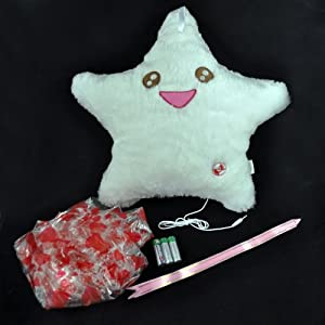 Amico Smile Star Design Color Changing LED Light Toss Thrown Pillow White