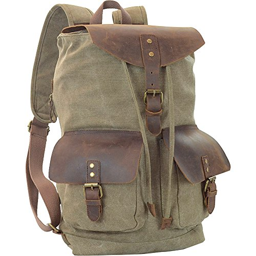 r-r-collections-genuine-leather-canvas-backpack-green
