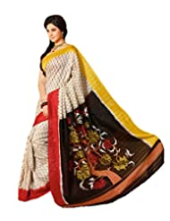 Inddus Exclusive Women Art Silk Printed Yellow Saree