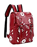 Girls Pu Print Musical Notes Backpack (Color:Red)