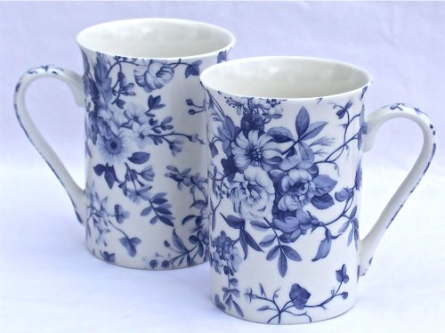 Pair Fine English Bone China Mugs - Blue Flower Chintz