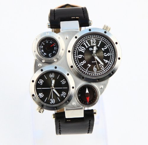 Fashion Metal Dial Watch with Dual Quartz Movement/Compass/Thermometer Black dial
