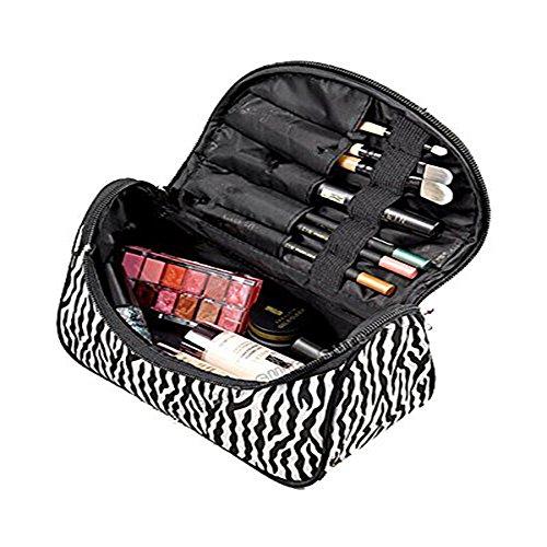 Jovilife-Borsa da donna, motivo zebrato a strisce in Nylon da donna, stile Casual, con trousse da viaggio piccola Zip Borsa porta-Borsetta da toilette