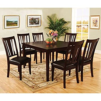 Bridgette Transitional Style 7-Piece Espresso Finish Dining Table Set