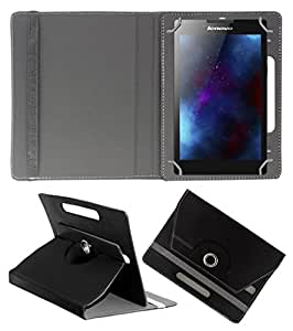 ECellStreet ROTATING 360° PU LEATHER FLIP CASE COVER FOR Datawind UbiSlate 3G7 7 INCH TABLET STAND COVER HOLDER - Black
