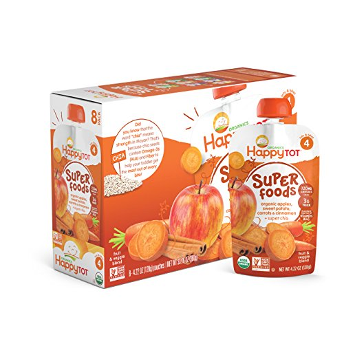 Happy Tot Organics Super Foods, Apples, Sweet Potatoes, Carrots & Cinnamon + Super Chia, 4.22 Ounce (Pack of 16) (Baby Food Sweet Potato compare prices)