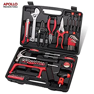 Apollo Precision Tools 53 Piece Household and Garage Tool Kit including Hack Saw, Sockets, Wire Strippers and Tin Snips - in Heavy Duty Case