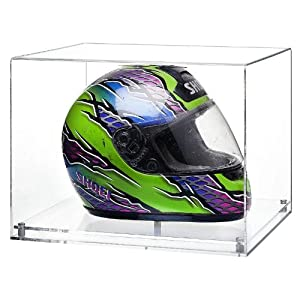 Crash Helmet Display Case with a Clear Modern Base