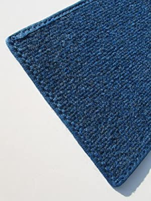 """BRIGHT BLUE MULTI - Indoor/Outdoor Area Rug Carpet, Runners & Stair Treads with a Non-Skid Latex Marine backing and Premium Nylon Fabric FINISHED EDGES . Olefin , 3/16"""" Thick + Medium Density. MANY SIZES and Shapes. Rectangles, Squares, Circles, Half Roun"""