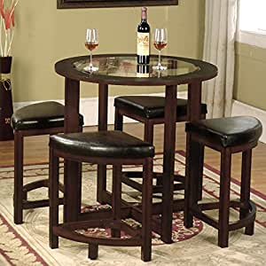 com cylina solid wood round 5 piece dining table set with glass