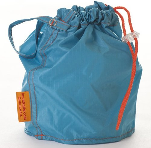 Turquoise Medium GoKnit Pouch Project Bag w/ Loop & Drawstring by KnowKnit
